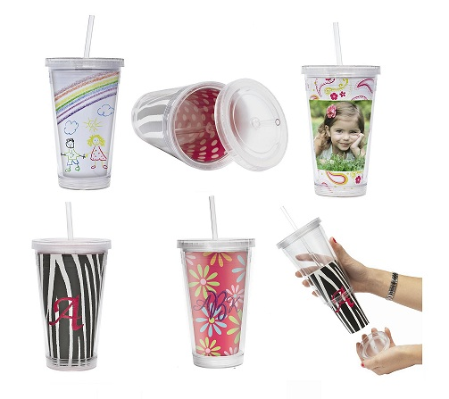 Custom Slurpy Tumbler with Straw 16 oz.-Custom,Slurpy,Tumbler,Straw,16 oz.,inserts,artwork,acrylic,bpa free,photo