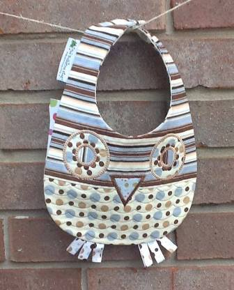 Hoot Owl in Brown and Blue Circles and Stripes-hoot,owl,bib,reversable,handmade,quilted,lined,ribbon,adorable,snap