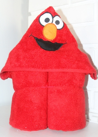 Red Monster Hooded Towel-Red, tickle,monster, hooded, towel