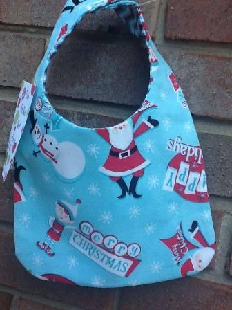 Retro Christmas Baby Bib-retro,Christmas,santa,reindeer,elves,snowmen,classic,snowflakes,blue,red,gender,neutral