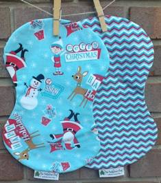 Retro Christmas Burp Cloth-retro,Christmas,reindeer,santa,elves,snowmen,classic,blue,red,gender,neutral,burp,cloth
