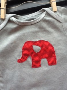 Hand Dyed Grey with Simple Elephant in Red Chevron-Hand,Dyed,Grey,Onesie,Simple,Little,Elephant,red,chevron,Cute,boys,girls