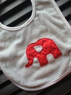 Simple Elephant in Red Chevron-Custom,Hand Dyed,Bibs,Simple,Little,Elephant,Applique,Red,Chevron