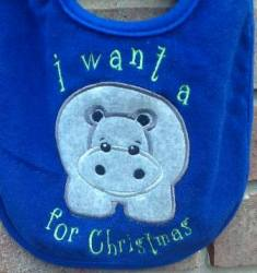Hippo for Christmas-hippopotamus,Christmas,baby,bib,want