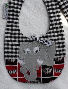 Ali Bama Elephant Baby Bib-Alabama,baby.bib.houndstooth,football