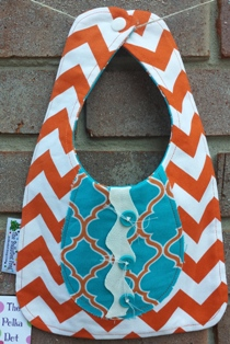 Orange and Turquoise Button Down Bib-Handmade,bib,baby,button down,embellished,shabby chic